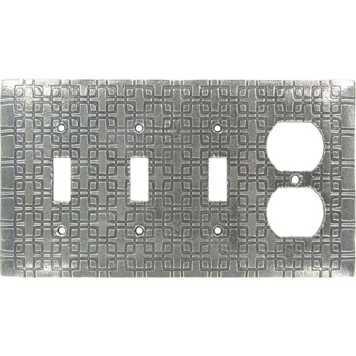 Squares Combination Triple 3 Toggle / Outlet Wall Plate Covers