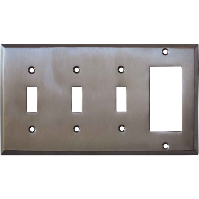 Stainless Steel Finish - 3 Toggle/1 Rocker GFCI Switch Covers