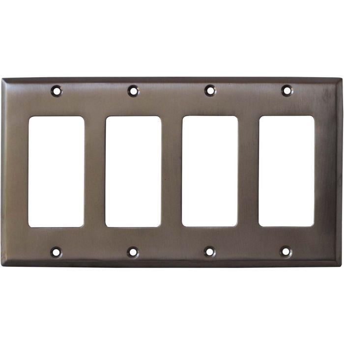 Stainless Steel Finish - 4 Rocker GFCI Decora Switch Plates