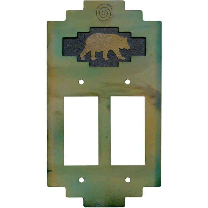 Steppe Bear2 Gang Decorator / GFCI Rocker Wall Plate Cover