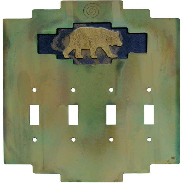 Steppe Bear Quad 4 Toggle Light Switch Covers