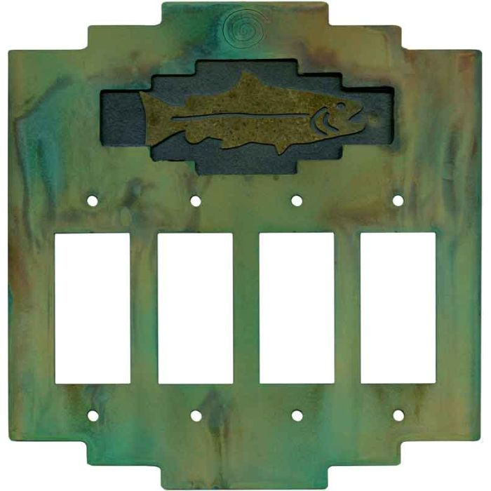 Steppe Fish 4 Rocker GFCI Decorator Switch Plates
