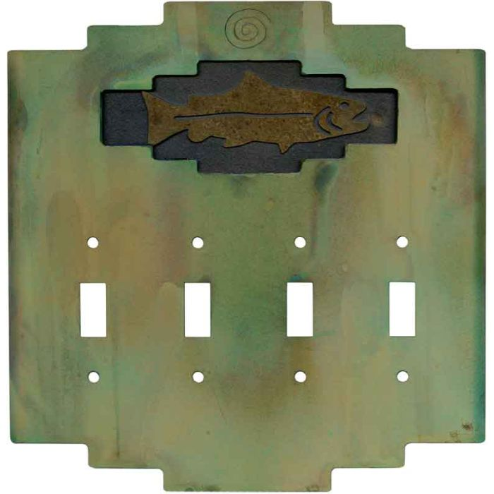 Steppe Fish Quad 4 Toggle Light Switch Covers