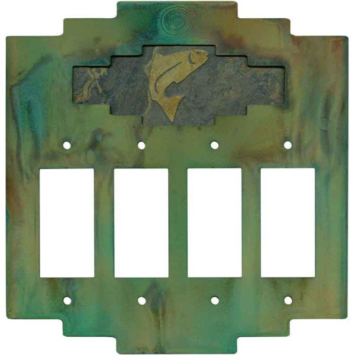 Steppe Trout 4 Rocker GFCI Decorator Switch Plates