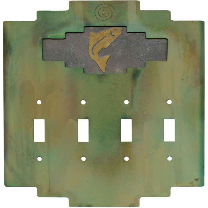 Steppe Trout Quad 4 Toggle Light Switch Covers