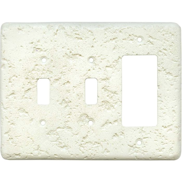 Stonique Biscuit Double 2 Toggle / 1 GFCI Rocker Combo Switchplates
