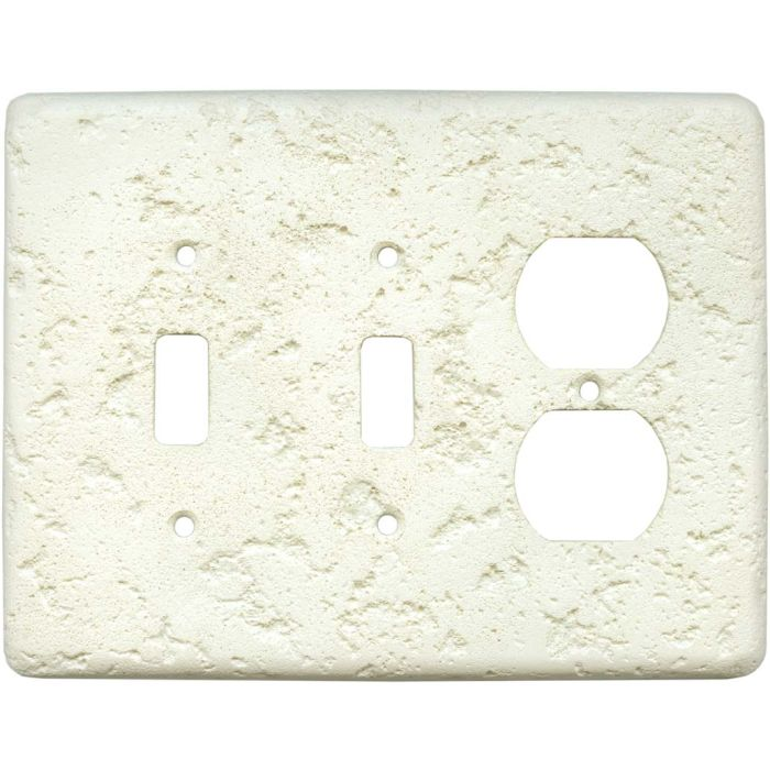 Stonique Biscuit Double 2 Toggle / Outlet Combination Wall Plates