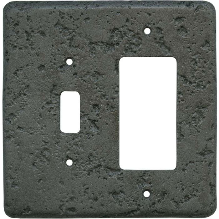 Stonique Charcoal1 Toggle Wall Switch Plate - GFI Rocker Cover Combo