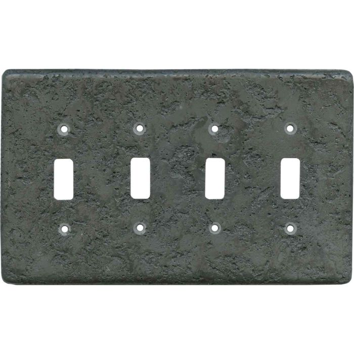 Stonique Charcoal Quad 4 Toggle Light Switch Covers