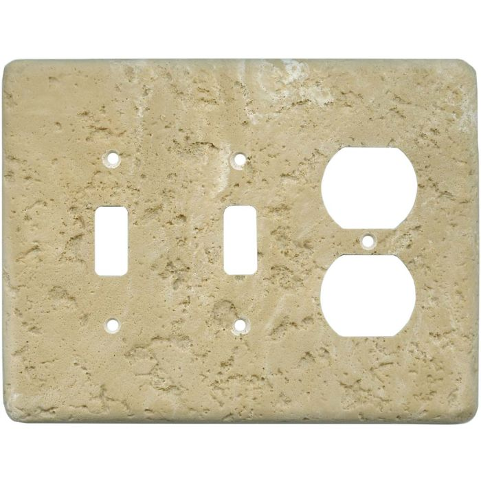 Stonique Cocoa Double 2 Toggle / Outlet Combination Wall Plates