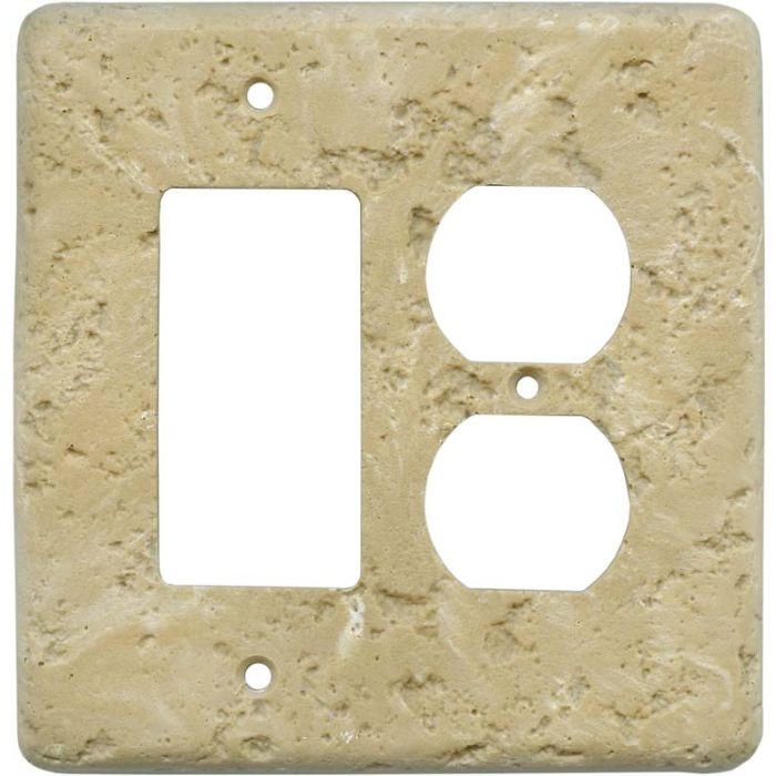 Stonique Cocoa Combination GFCI Rocker / Duplex Outlet Wall Plates