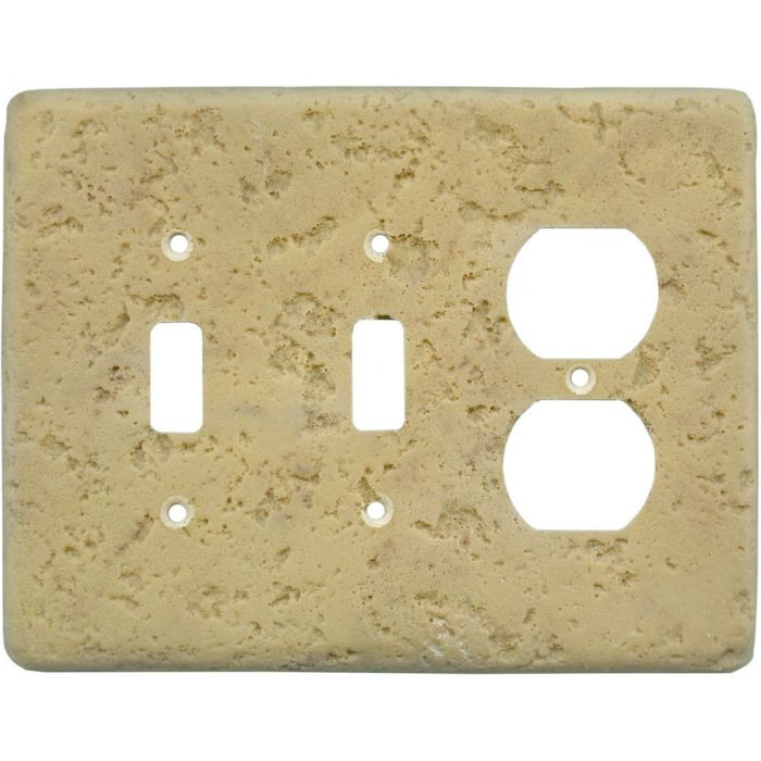 Stonique Honey Gold Double 2 Toggle / Outlet Combination Wall Plates