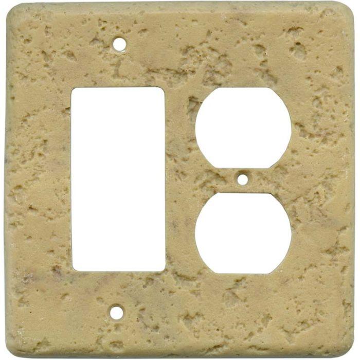 Stonique Honey Gold Combination GFCI Rocker / Duplex Outlet Wall Plates