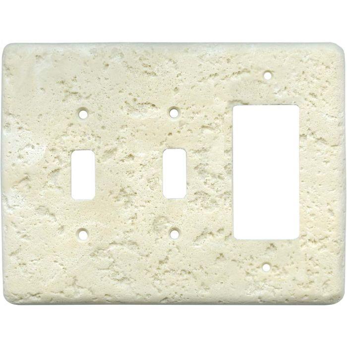 Stonique Wheat Double 2 Toggle / 1 GFCI Rocker Combo Switchplates