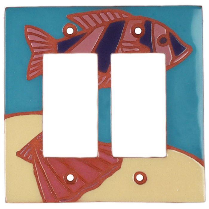 Striped Fish 2 Gang Double GFCI Rocker Decorator Wallplates