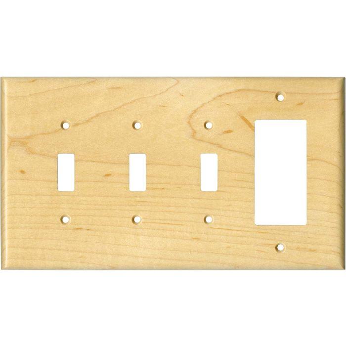 Sugar Maple Satin Lacquer - 3 Toggle/1 Rocker GFCI Switch Covers