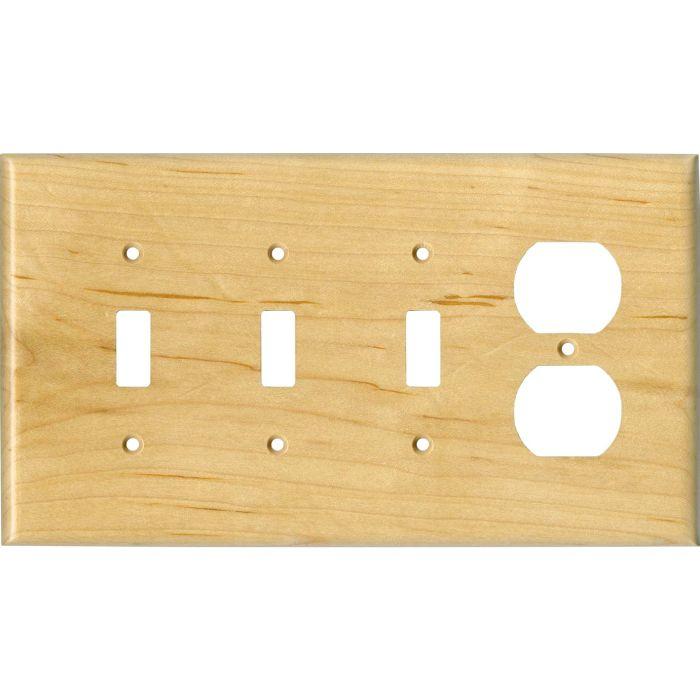 Sugar Maple Satin Lacquer3-Toggle / 1-Duplex - Combination Wall Plates