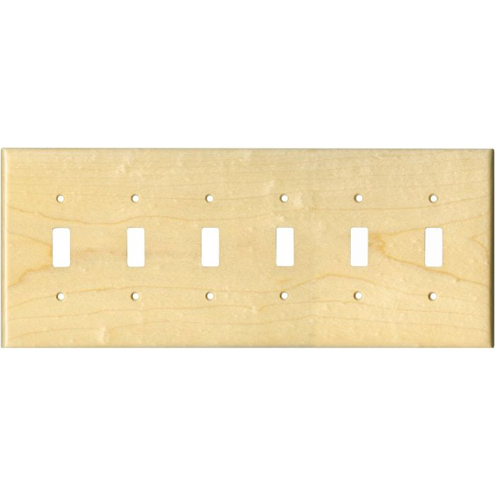 Sugar Maple Satin Lacquer 6 Toggle Wall Plate Covers