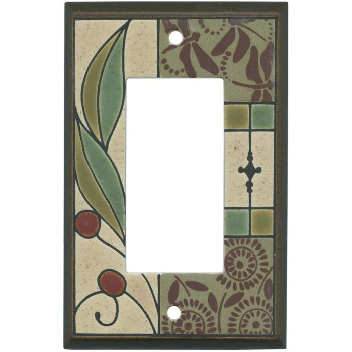 Summer Tapestry Ceramic Single 1 Gang GFCI Rocker Decora Switch Plate Cover