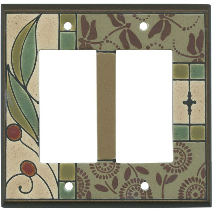 Summer Tapestry Ceramic 2 Gang Double GFCI Rocker Decorator Wallplates
