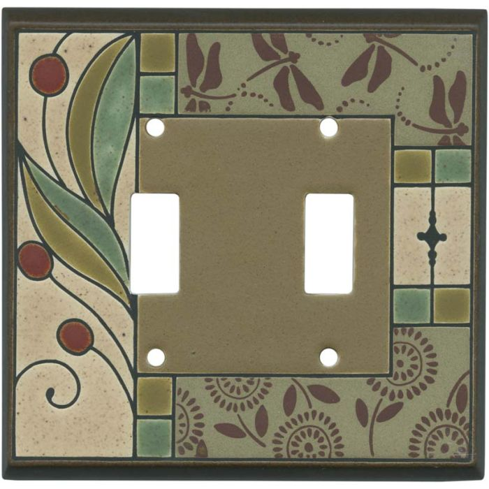 Summer Tapestry Ceramic Double 2 Toggle Switch Plate Covers