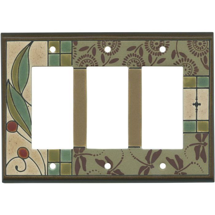 Summer Tapestry Ceramic Triple 3 Rocker GFCI Decora Light Switch Covers