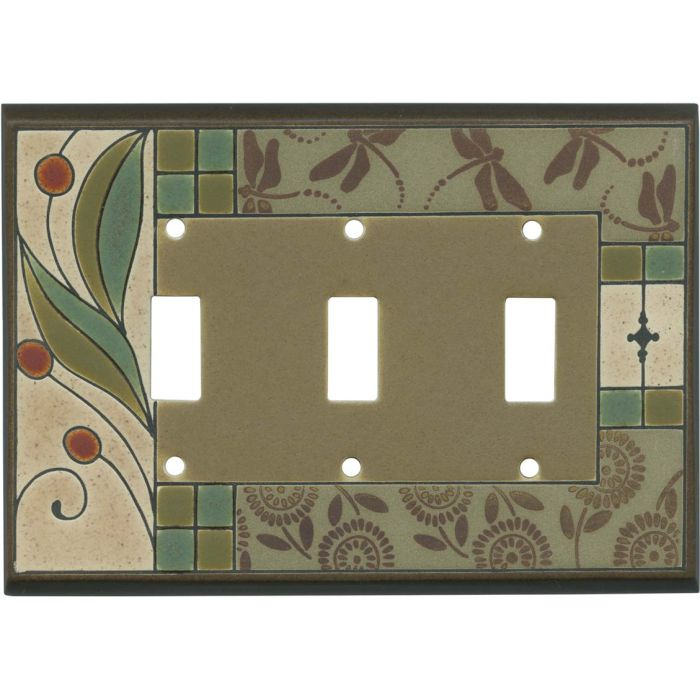 Summer Tapestry Ceramic Triple 3 Toggle Light Switch Covers