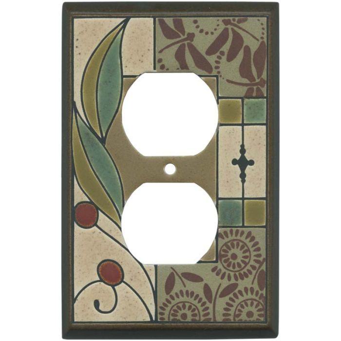 Summer Tapestry Ceramic 1 Gang Duplex Outlet Cover Wall Plate