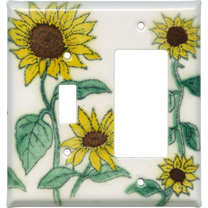 Sunflower Patch Combination 1 Toggle / Rocker GFCI Switch Covers