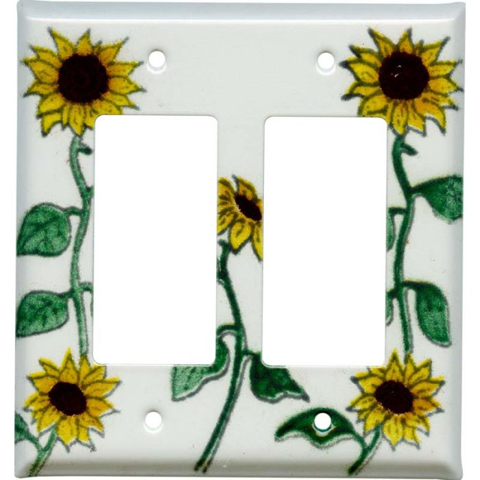 Sunflower Patch 2 Gang Double GFCI Rocker Decorator Wallplates