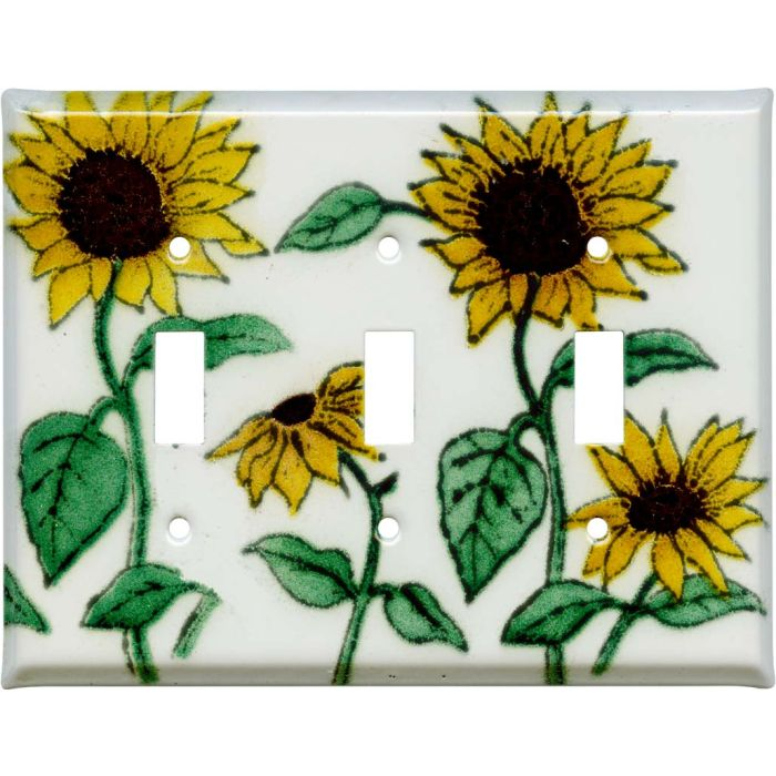 Sunflower Patch Triple 3 Toggle Light Switch Covers