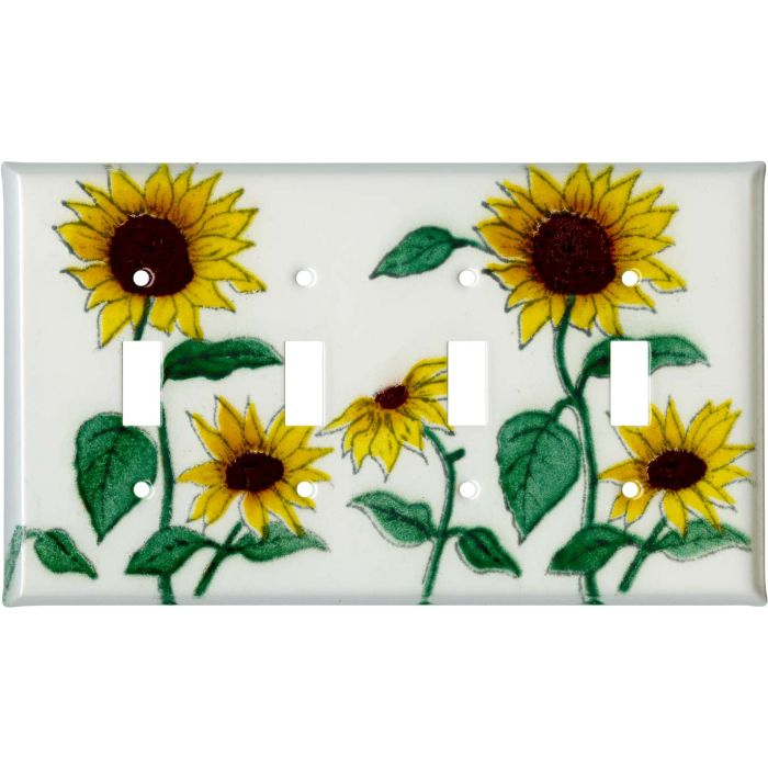 Sunflower Patch Quad 4 Toggle Light Switch Covers