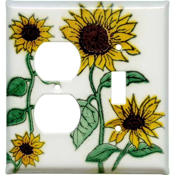 Sunflower Patch 1-Duplex / 1-Toggle - Combination Wall Plates