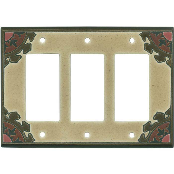 Suzani Earth Ceramic Triple 3 Rocker GFCI Decora Light Switch Covers