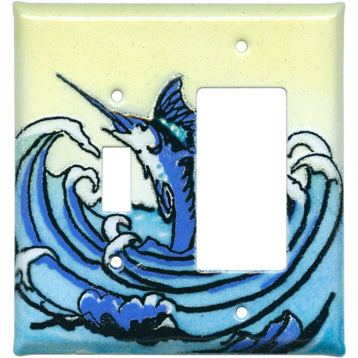 Swordfish1 Toggle Wall Switch Plate - GFI Rocker Cover Combo