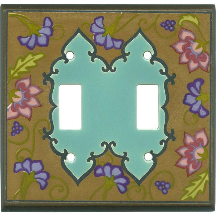Tapestry Dark Ceramic Double 2 Toggle Switch Plate Covers