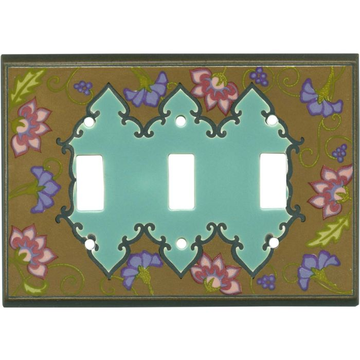 Tapestry Dark Ceramic Triple 3 Toggle Light Switch Covers