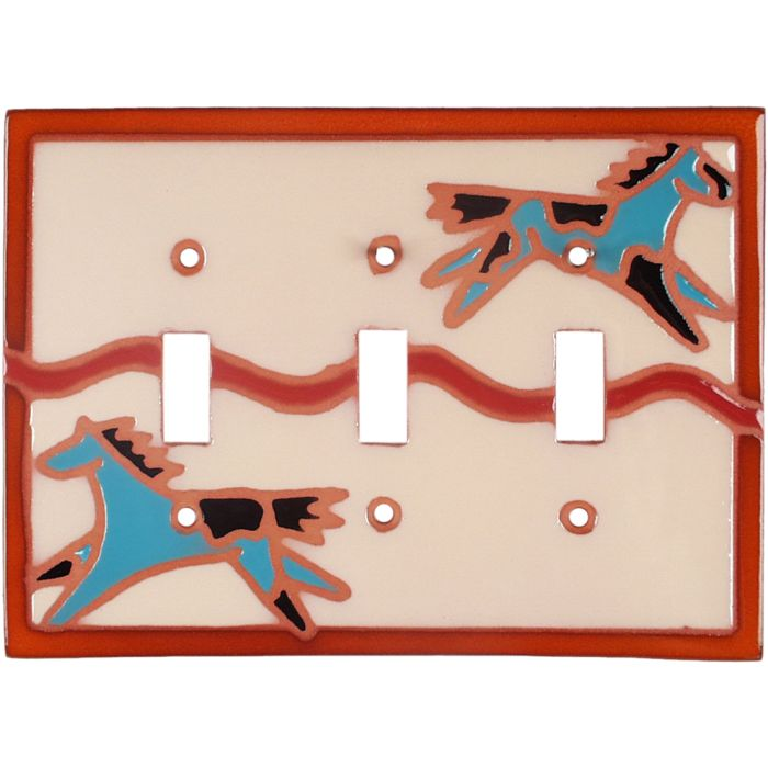 Teal Ponies Triple 3 Toggle Light Switch Covers
