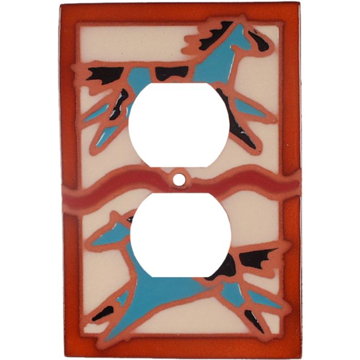 Teal Ponies 1 Gang Duplex Outlet Cover Wall Plate