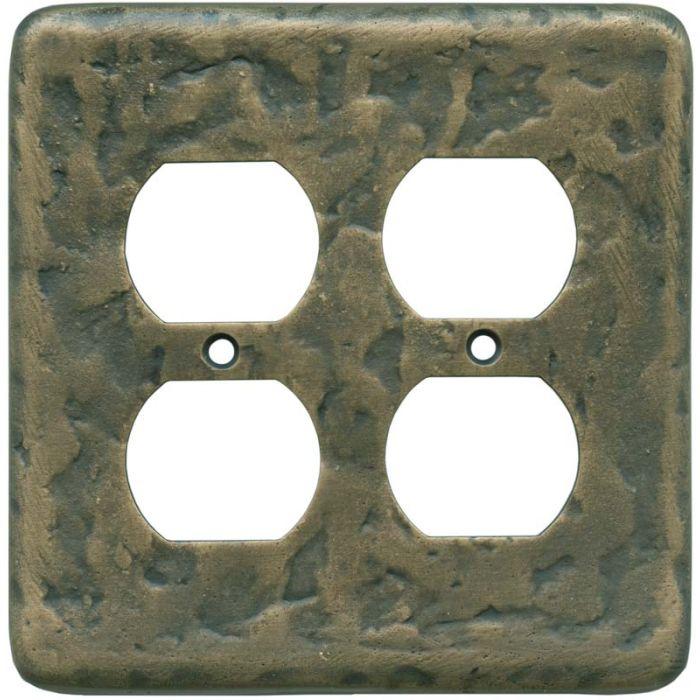 Texture Antique Brass 2 Gang Duplex Outlet Wall Plate Cover