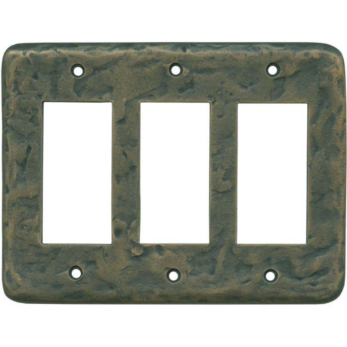Texture Antique Brass Triple 3 Rocker GFCI Decora Light Switch Covers