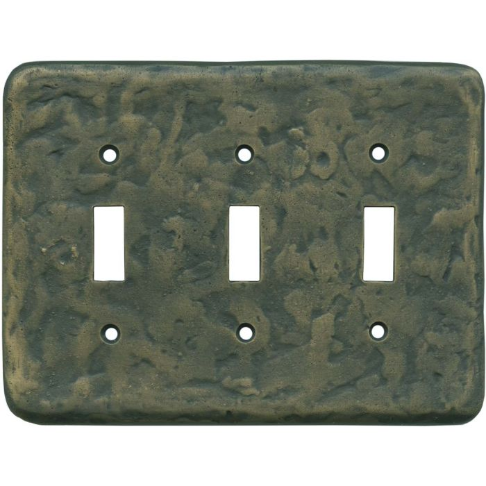 Texture Antique Brass Triple 3 Toggle Light Switch Covers