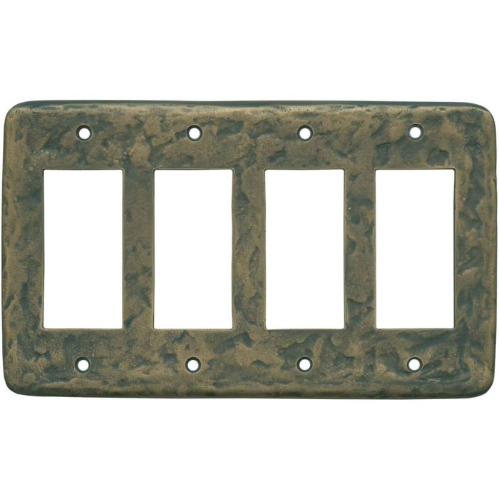 Texture Antique Brass 4 Rocker GFCI Decorator Switch Plates