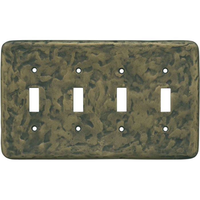 Texture Antique Brass - 4 Toggle Light Switch Covers