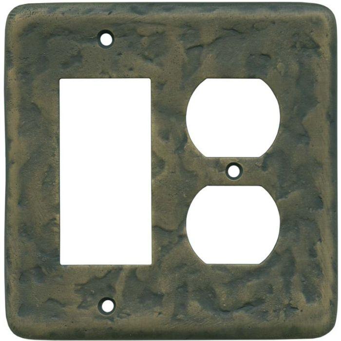 Texture Antique Brass Combination GFCI Rocker / Duplex Outlet Wall Plates