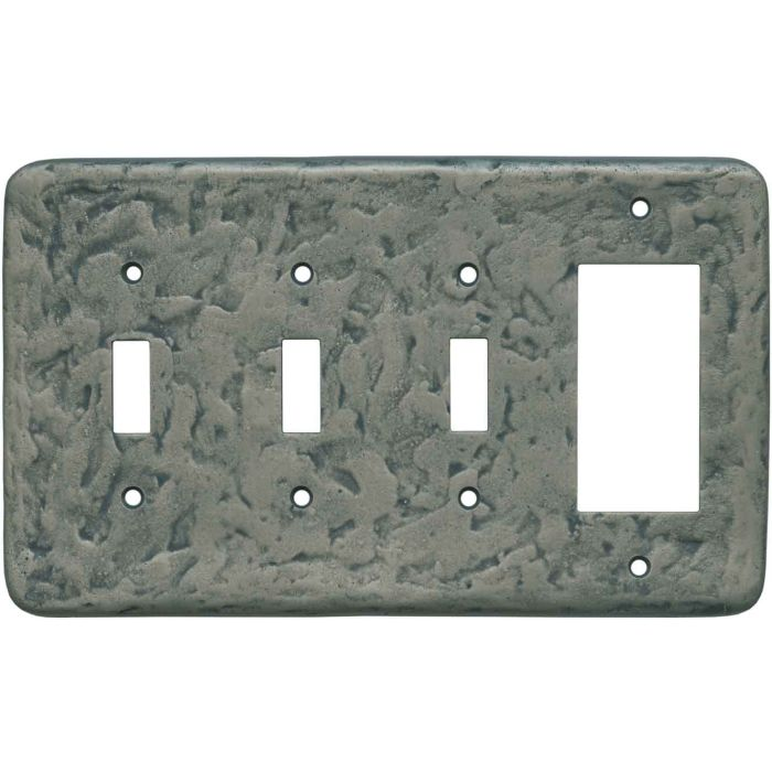 Texture Antique Pewter Triple 3 Toggle / 1 Rocker GFCI Switch Covers