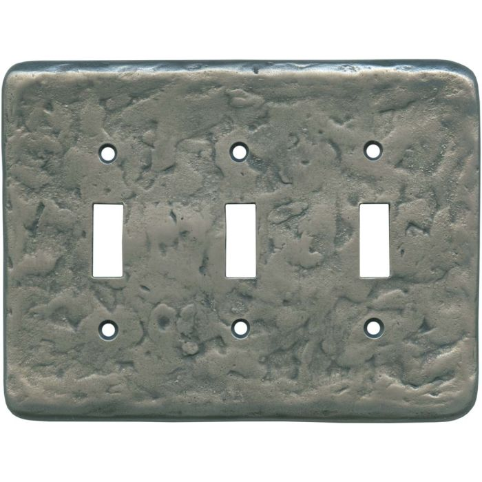 Texture Antique Pewter Triple 3 Toggle Light Switch Covers
