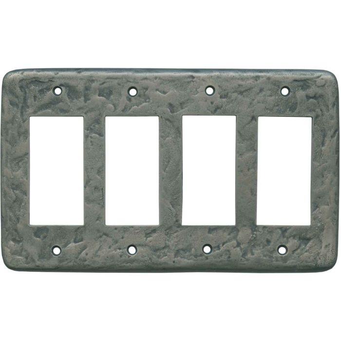 Texture Antique Pewter 4 Rocker GFCI Decorator Switch Plates