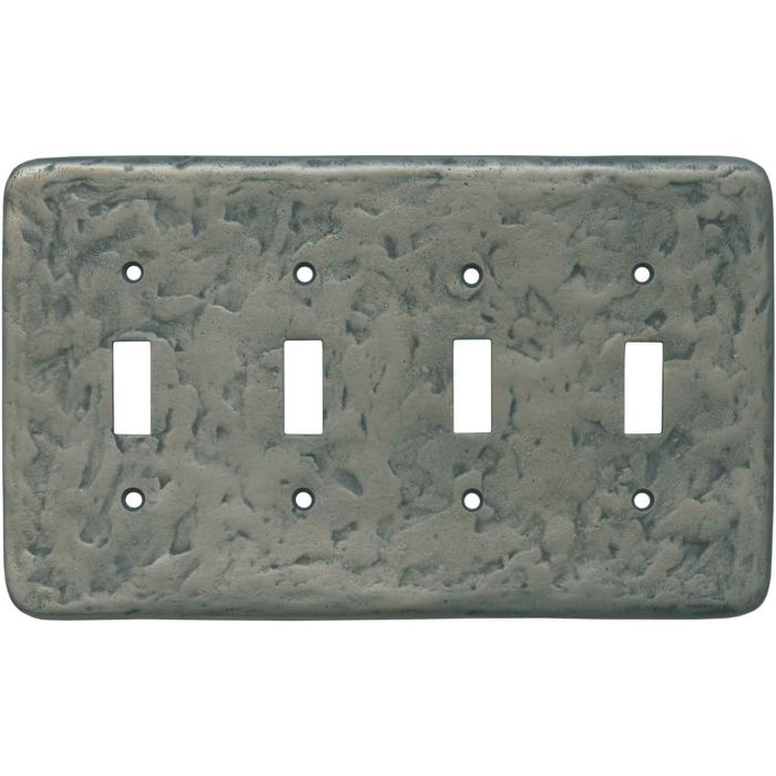 Texture Antique Pewter Quad 4 Toggle Light Switch Covers