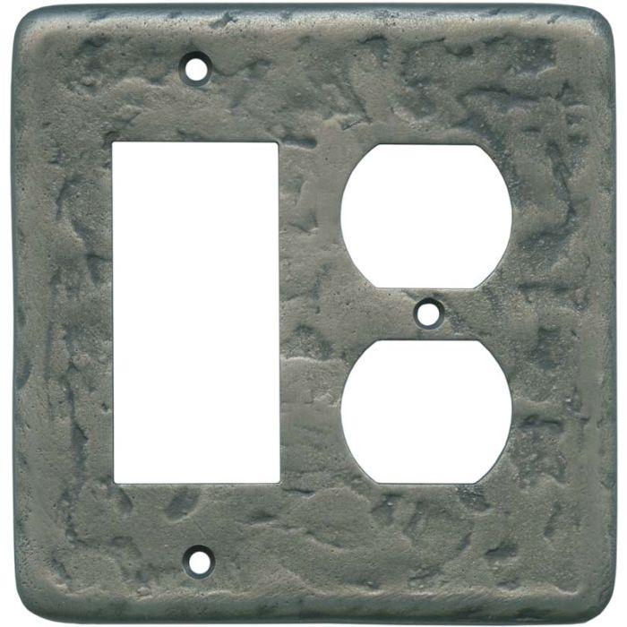 Texture Antique Pewter Combination GFCI Rocker / Duplex Outlet Wall Plates